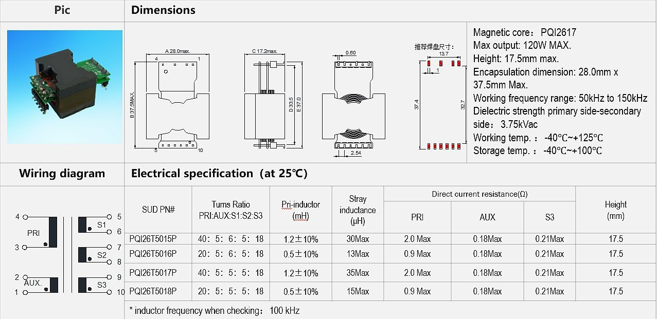 Specifications for Communication power supply planar transformer