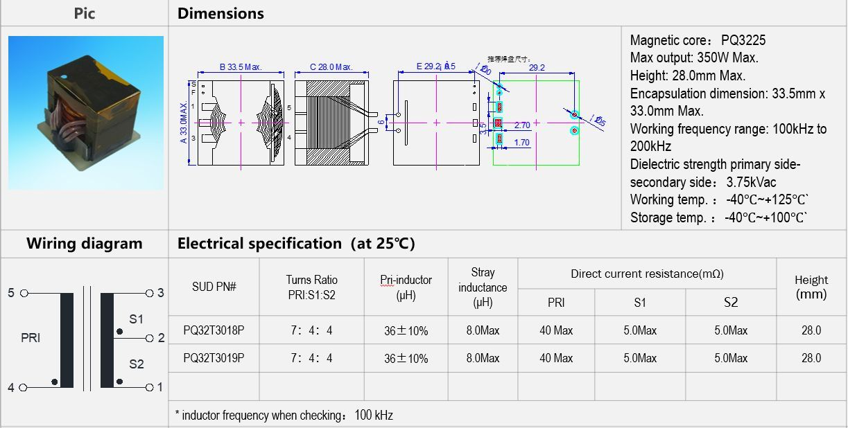 Specifications for Vehicle-Mounted high power planar transformer 100kHz to 200kHz
